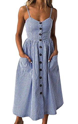 Womens Summer Floral Bohemian Spaghetti Strap Sleeveless Swing Midi Dress with Pockets (Small, Navy Pinstripe)