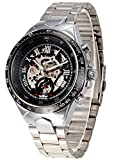 New Brand Mall Luxury Skeleton Dial Design Mens Case For Automatic Mechanical WristWatch(silvery Stainless Steel Band, Gift Box of 1)