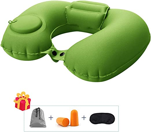 2x Portable Travel Inflatable Pillow Car Airplane Sleep Support Cushion Camping