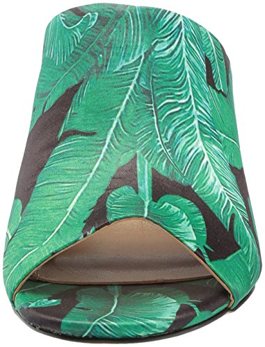 De Fix Kvinders Belle Blok Hæl Muldyr Sort Grønne Palme Print Satin Nb8Jc
