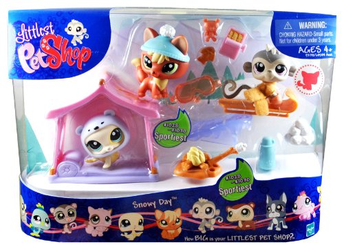Littlest Pet Shop Sportiest Series 3 Pack Bobble Head Pet Figure Box Set - SNOWY DAY with Orange Fox (#1028) with Hat , Gray Money (#1029) with Scarf and Sled and Yellow Seal (#1030) with Helmet and Tent, Plus Woodfire, Canteem, Snowballs, Googles and Pet Toys (Yellow Sled)