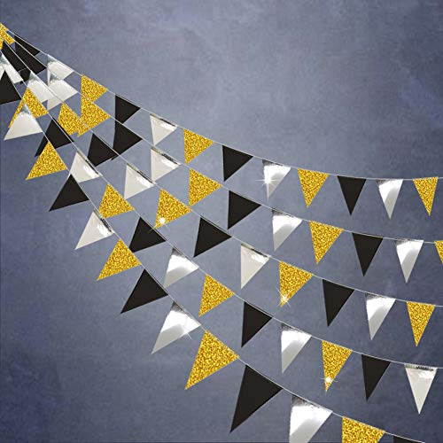 Gold and Black Triangle Vintage Flag Garland Banner kit for Party Decoration/Pennant Hanging Garlands Banner for Graduation/Wedding/30 Milestone Birthday/Anniversary Decorations/Silver/39ft/104flags ()