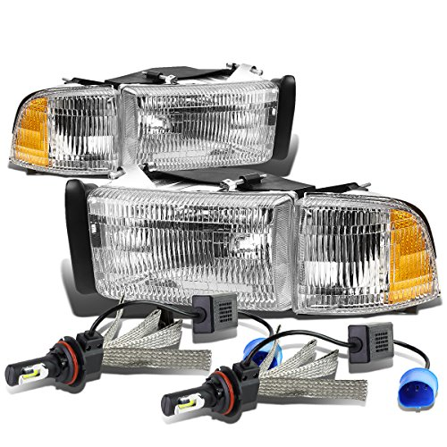 For Dodge Ram BR/BE Pair of Chrome Housing Amber Signal OE Style Replacement Headligt + 9007 LED Conversion Kit