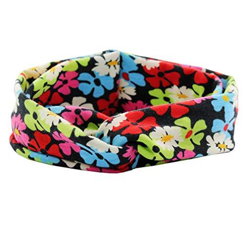 Headband Trendy European Spring/Summer Floral Cotton Infantile Cross Headband Bandeau Elastic Kids Girl DIY Hair Accessories ()
