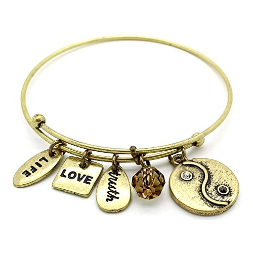 (KIS-Jewelry Symbology 'Yin Yang' Bangle Bracelet, Brass Plated - Expandable Wire Charm Bracelet Accented with Crystal Stones and One Shiny Glass Bead - Perfect Jewelry for Fashion)