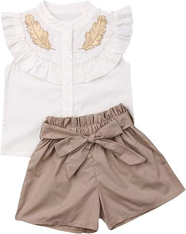 Ropa Bebé Recién Nacido Blusa Niña Conjuntos 2 Piezas Camisa de Manga Volante Blanca con Dibujo Plumas + Pantalones Cortos de algodón.: Amazon.es: Ropa y accesorios