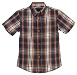 Gioberti Little Boys Plaid Short Sleeve Shirt, Brown/Charcoal, Size 5