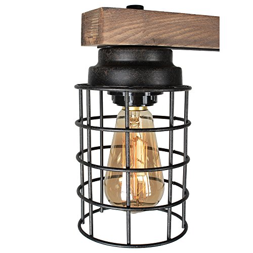 Baiwaiz Wood Pool Table Light, Rustic Kitchen Island Lighting Metal Cage Linear Chandelier 5 Light Edison E26 069 by Baiwaiz (Image #5)