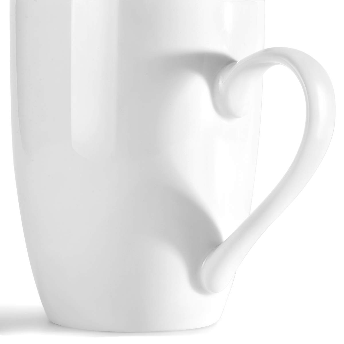 MIWARE 12 Ounce Porcelain Mugs, Set of 6, Tea and Coffee Mug Set, White