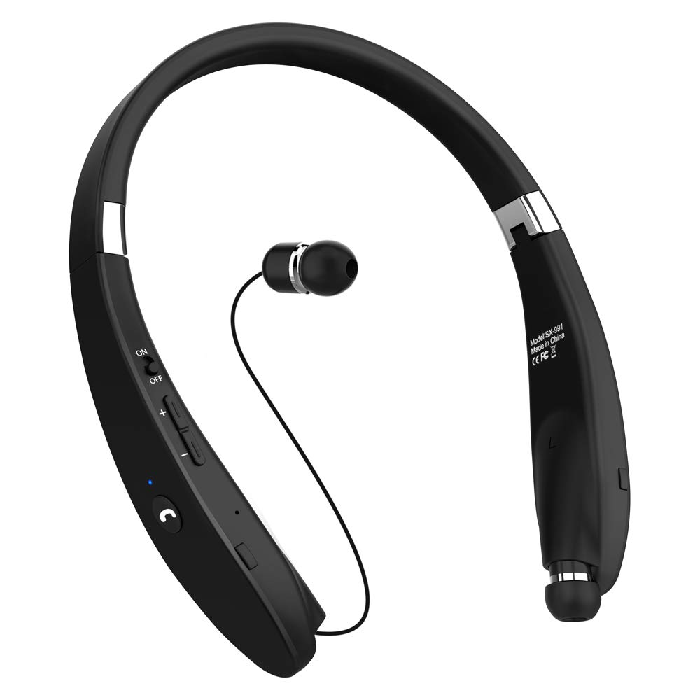 39ff140bfaf Bluetooth Headphones, Dostyle V4.1 Bluetooth Headset Wireless Stereo  Neckband Foldable Sport Earbuds with Mic and Retractable Earbuds Compatible  for All ...