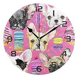 Dozili Animal Bulldog Macaroon Decorative Wooden Round Wall Clock Arabic Numerals Design Non Ticking Wall Clock Large for Bedrooms, Living Room, Bathroom