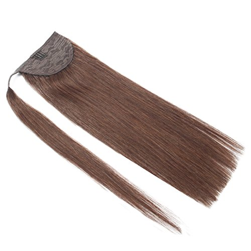 Human Hair Ponytail Extensions Wrap Around Real Remy Straight Human Hair Clip in Ponytail 80Grams Dark Brown (16