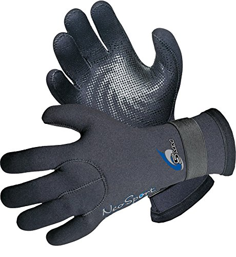 NeoSport Wetsuits Premium Neoprene 5mm Five Finger Glove, Black, Small - Diving, Snorkeling & Waterskiing