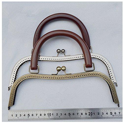 [해외]Ownstyle 레트로 빈티지 나무 지갑 손잡이와 금속 지갑 프레임, 10 1 / 4 인치/Ownstyle Retro Vintage Wood Purse Handle With Metal Purse Frame , 10 1