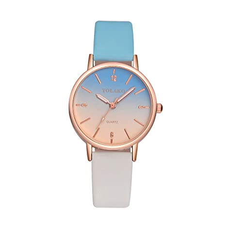Relojes para Mujer,Winkey Moda Mujer Correa de Cuero Color Gradiente Cuarzo Analógico Relojes de