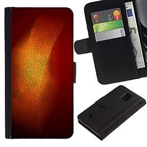 iKiki Tech / Cartera Funda Carcasa - Gold Shiny Shine Orange Pastel - Samsung Galaxy S5 Mini, SM-G800, NOT S5 REGULAR!