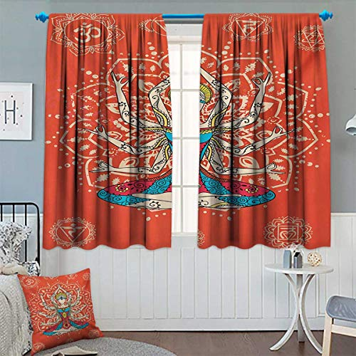 Chaneyhouse Yoga Room Darkening Curtains Yoga Technique with Ethnic Costume Zen Discipline Your Body and Mind Artprint Decor Curtains by 55
