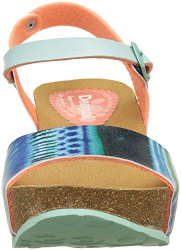 Desigual Bio7 Blue Aquarella, Heels Sandals para Mujer Turquesa (turquoise 5013)