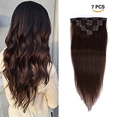 Clip in Hair Extensions Remy Human Hair - 70g 7pcs 16 Clips Straight Thick 100% Real Human Hair Extensions for Women