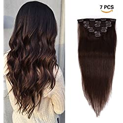 18 inches Clip in Extensions Real Human Hair - 70g 7pcs 16 Clips Straight 100% Remy Human Hair Extensions for Women Dark Brown #2 Color