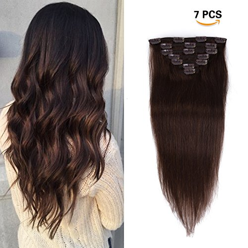 16 inches Clip in Hair Extensions Remy Human Hair - 70g 7pcs 16 Clips Straight Thick 100% Real Human Hair Extensions for Women Dark Brown #2 Color (Extensions Hair Remy Thick)