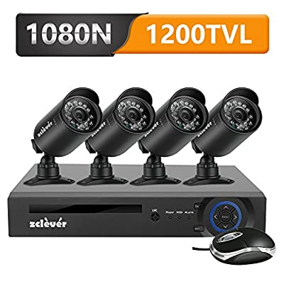 Zclever 4 Outdoor 1080N HD 1200TVL Home Security Camera System with 4 Channel 1080N AHD Surveillance DVR