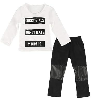 Ropa infantil con estampado de letras Baby Kids Niños Camiseta de ...