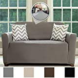 Sofa Shield Original Fitted 1 Piece Loveseat Slipcover, Soft, Stretch, Seat Width Up to 54' Furniture Protector, Washable Covers for Loveseats, Spandex Fit Slip Cover, Dogs Pets (Love Seat: Gray)