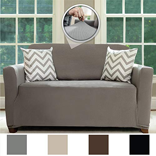"""Sofa Shield Original Fitted 1 Piece Loveseat Slipcover, Soft, Stretch, Seat Width Up to 54"""" Furniture Protector, Washable Covers for Loveseats, Spandex Fit Slip Cover, Dogs Pets (Love Seat: Gray)"""