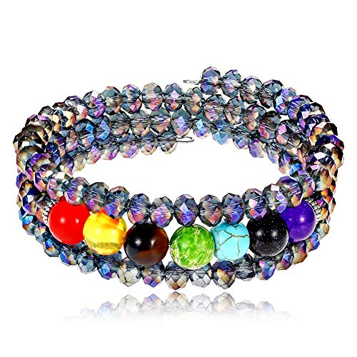 Lateefah 7 Chakra Beaded Bangle Wrap Bracelet - Fashion Bohemian Jewelry Multilayer Charm Bracelet with Thick Silver Metal Beads, Gift for Women Girls
