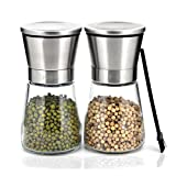 Pepper Mill and Salt Shaker Set Stainless Steel Pepper and Salt Mill Sets with Adjustable Coarseness & Cleaning Brush by F-Q-T (2 pieces)