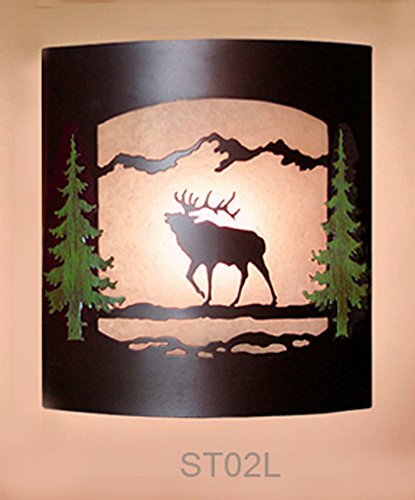 Wall Sconce Rustic Elk Light  Cabin Decor Lamp  Hand Painted Pine Tree Left Facing