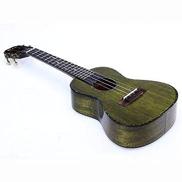 Miiliedy Hecho a mano Té verde Color Chapa elegante Ukulele Principiantes Niños Chicas Adultos Auto-estudio Ejercicios Guitarra pequeña Incluye bolsa Correa ...
