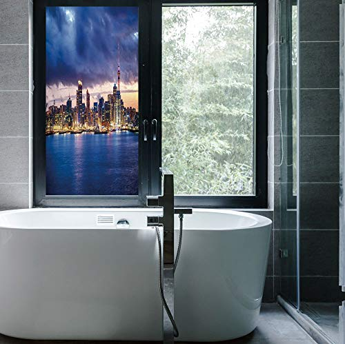ALUON Privacy Frosted Decorative Vinyl Decal Window Film,City,for Bathroom, Kitchen, Home, Easy to Install,Auckland The Biggest City in New Zealand Waterfront,24''x48''