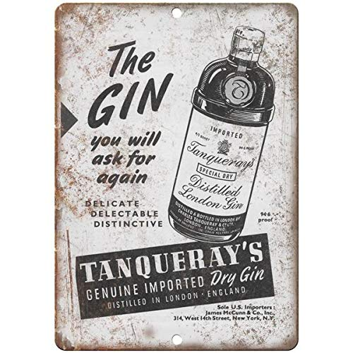 Tollyee Vintage Tanqueray Dry Gin London Ad Reproduction Metal Sign 12 X 18 inches (Extra Gin Dry Dry)