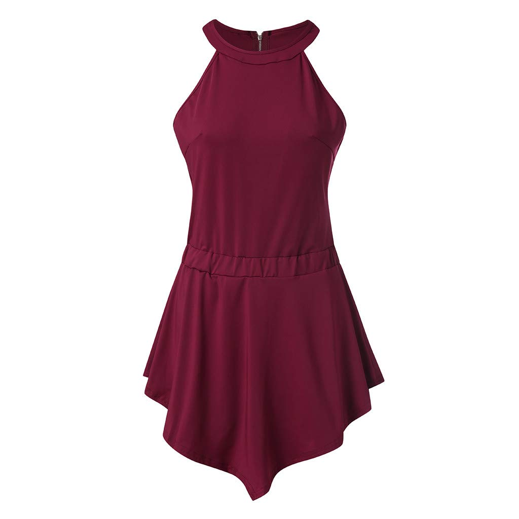 iYYVV Womens O-Neck Zipper Solid Irregular Sleeveless Jumpsuit Shorts Layered Bodysuit