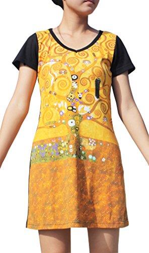 Raan Pah Muang RaanPahMuang Gustav Klimt The Tree Of Life Black Sleeve Dress, Small