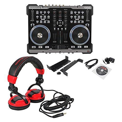 Package: American Audio VMS2 USB MIDI DJ Controller With Built-In Soundcard Touch Scratch Wheel Virtual DJ LE software + American Audio HP550 Lava Red/Black Over-the-Ear High-Powered DJ Headphones Usb Dj Controller Packages