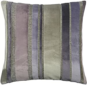 Diseño de rayas terciopelo morado plateado 43,18 cm 43 cm REVERSIBLE funda para cojín de piel sintética SHAM funda de almohada tejida a mano