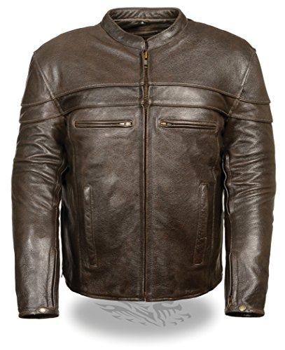 Sporty Scooter Jacket - Milwaukee Men's Retro Sporty Scooter Crossover Jacket (Brown, XX-Large)