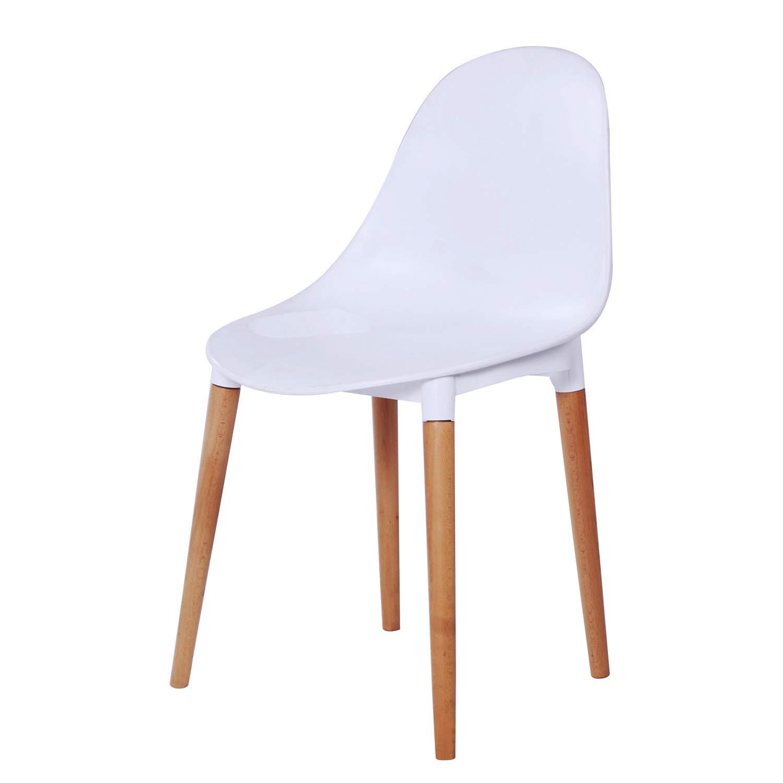 HLQW プラスチックの背もたれの椅子、大人の余暇の椅子、ソリッドウッドオフィスチェア、クリエイティブカンファレンスチェア、ホワイト B07RQ7SC4G