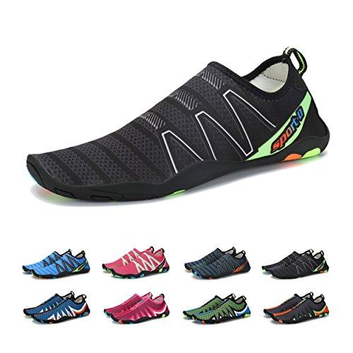 BlanKey Water Shoes Men Women Quick Dry Aqua Multifunctional Shoes Lightweight Beach Swim Shoes for Walk Run Water Aerobics Black 38