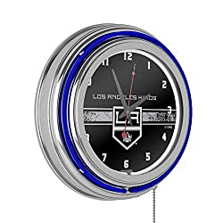 Trademark Global NHL Chrome Double Rung Neon Clock - Los Angeles Kings