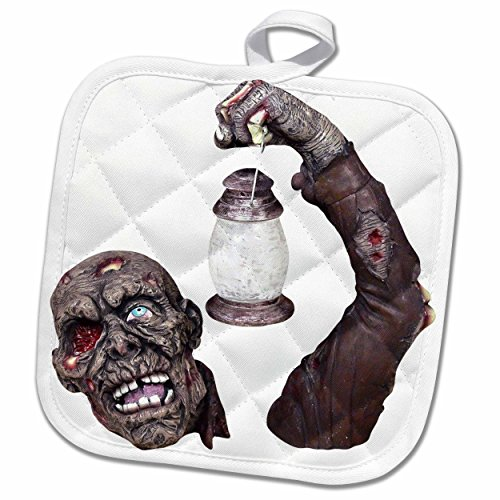 3dRose Blonde Designs Happy and Haunted Halloween - Halloween Gory Zombie - 8x8 Potholder (phl_131221_1) (Gory Halloween Dishes)