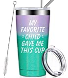 My Favorite Child Gave Me This Cup, Best Mom Birthday Gifts from Daughter, Son, Kids - Mother's Day, Father's Day, Christmas Gifts Idea for Dad, Grandma, Papa, Nana, Women, Men, Wine Tumbler