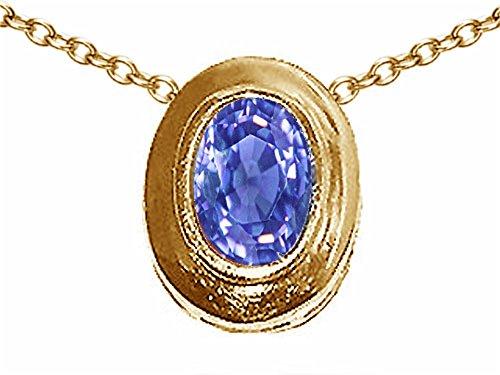 Tommaso Design Oval 7x5mm Genuine Tanzanite Pendant Necklace 14 kt Yellow Gold