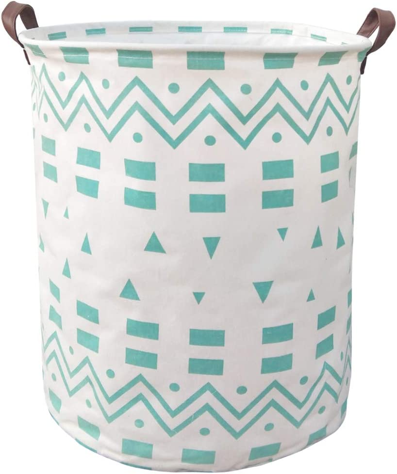 BOOHIT Cotton Fabric Storage Bin,Collapsible Laundry Basket-Waterproof Large Storage Baskets,Toy Organizer,Home Decor (Blue Geometric)
