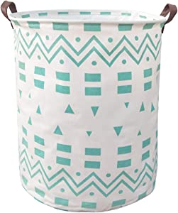 BOOHIT Cotton Fabric Storage Bin,Collapsible Laundry Basket-Waterproof Large Storage Baskets,Toy Organizer,Home Decor (Blue Geometric)