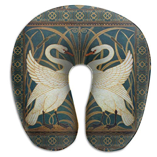 (Jhgsjnsf Walter Crane Swan, Rush and Iris Art Nouveau Suede Travel Pillow Memory Car Airplane Office Home CAF¨¦ Bus Printed U-Shape Neck Pillow)