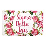 Sigma Delta Tau Rose Pattern Letter Sorority Flag Greek Letter Use as a Banner Large 3 x 5 Feet Sign Decor Sig Delt
